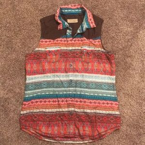 Sleeveless Cowgirl button up southwest Navajo